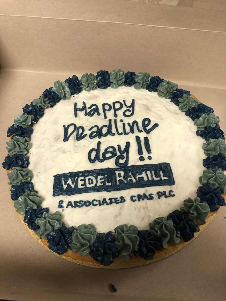 frosted cookie that says happy deadline day - Oct. 15
